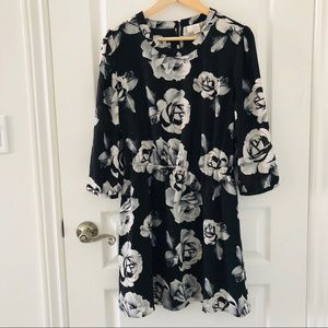 Floral black and white quarter sleeve Dress size L